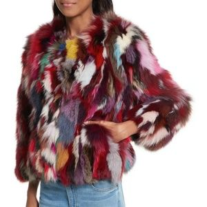 Rebecca Minkoff Rachel Fox Fur Rainbow Jacket Coat